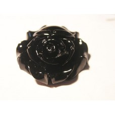 Flower Cabochons Dyed Flower Black 28mm