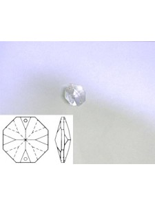 Octagon 12mm Clear Two Holes