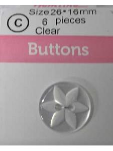 Hemline Button Jasminum 26 Clear 16mm