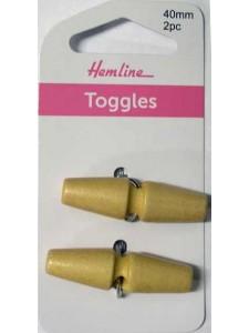 Hemline Button Toggle Cream Natural 40mm
