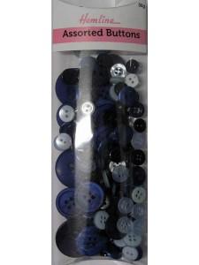Hemline Buttons Assorted Blue Bulk Pack