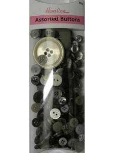 Hemline Buttons Assorted Black Bulk Pack