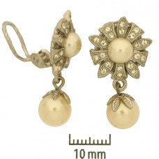 Clip-on Earring Pearl w/crystal RP - prs