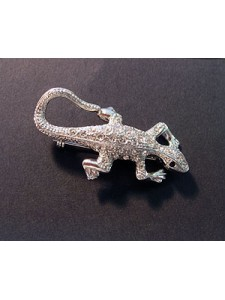 Lizzard Brooch Clear Stones Rhod. Plated