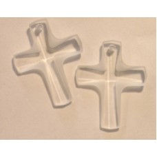 Swar Frosted Cross Stone 12x10mm Clear