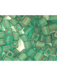 Miyuki Squares 4mm Frost Dk Green-5 gram