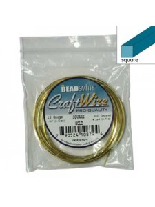 Craft Wire 18ga Square 4yd Gold plated