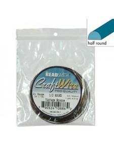 Craft Wire 21ga Half-round 4yd Vint.Bron