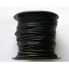 Round Leather Cord 1.2mm Black 25 meters