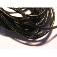 Round Leather 0.9mm Black 3mts