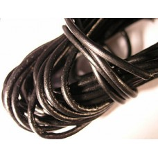 Round Leather 2.0mm 25mt Roll Black