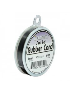 Rubber Cord 1.5mm Black 3 Yards spool
