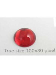 Swar Round Stone Smooth 12mm Siam Red