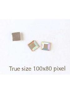 Swar Flat Square Stone 4mm AB-Hot Fix
