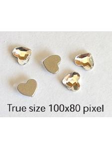 Swar Flat Heart Glue-on 6mm Clear Foiled