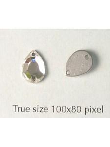 Swar Drop Sew-on 2 holes Clr Mirror Foil