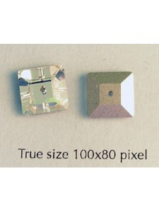 Swar Sew-on Square 10mm Clear Foiled