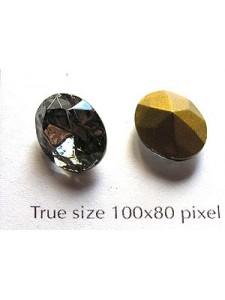Swar Oval Stone Fac 12x10mm Black Dia GF