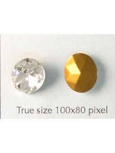 Swar Oval Stone Faceted 12x10mm Clr Foil