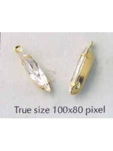 Navette stone 15x4mm clear G/P Set 1Ring