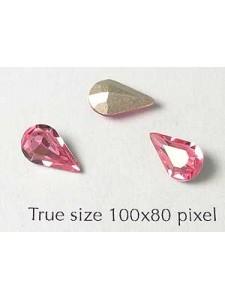 Swar Stone Drop 10x6mm Rose Foil