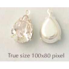 Pear stone 14mm Clear silver set 1 Ring