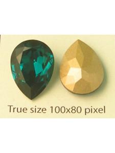 Swar Drop Stone 18x13mm Emerald F
