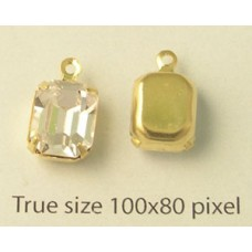 Oct Stone 10x8mm Clear gold set. 1ring
