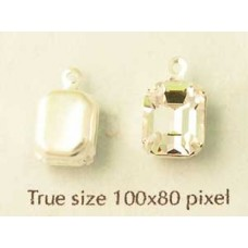 Oct Stone 10x8mm Clear Silver Set. 1ring