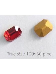 Swar. Octagonal Stone 10x8mm Siam Red