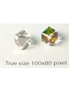 Swar Slant Cube Stud Stone Rainbow