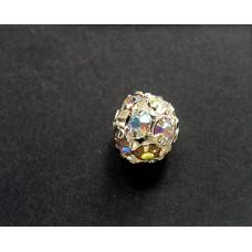 Rhinestone Ball 8mm Clear AB   Silver Pl