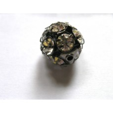 Rhinestone Ball 12mm Clear  Black Plated