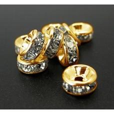 Diamonte Rondel (ASIA) 6mm Clr Gold Pl