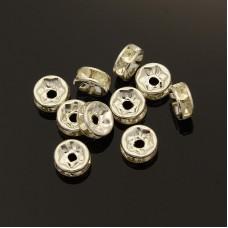 Diamonte Rondel (ASIA) 7mm Clear Silv Pl
