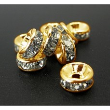 Diamonte Rondel 8mm Clear Gold plate