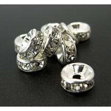Diamonte Rondel (ASIA) 8mm Clr Silver Pl