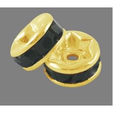 Diamonte Rondel (ASIA) 10mm Jet Gold Pla