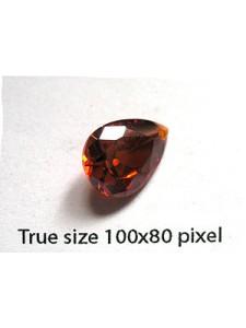 Pear Pendant Zirconia 14x10mm Garnet