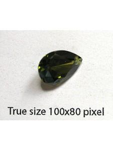 Pear Pendant Zirconia 14x10mm Olive