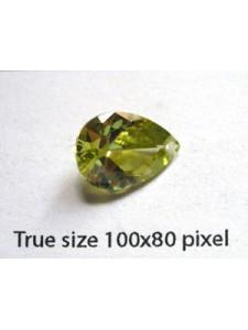 Pear Pendant Zirconia 14x10mm Peridot