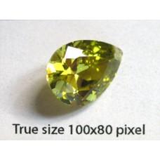 Pear Pendant Zirconia 18x13mm Peridot